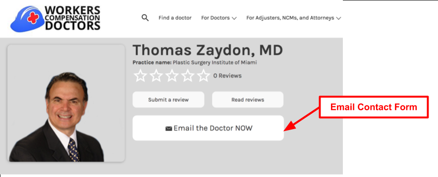 Email Work Comp Doctor Button
