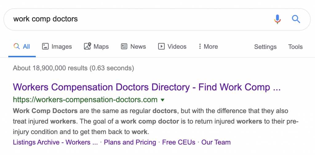 Work Comp Doctors top of Google